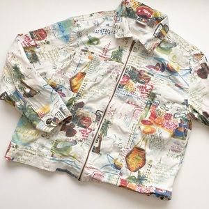 Chico's funky print lightweight jacket